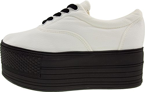 White Double Maxstar Platform Synthetic Shoes Sneakers Boat Oxford Leather SZn8qZp