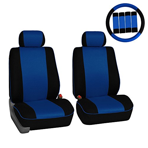 FH Group FH-FB063102 Pair Set Sports Fabric Car Seat Covers Blue/Black, Airbag Compatible and Split Bench W. FH2033 Steering Wheel Cover and Seat Belt Pads- Fit Most Car, Truck, SUV, or Van