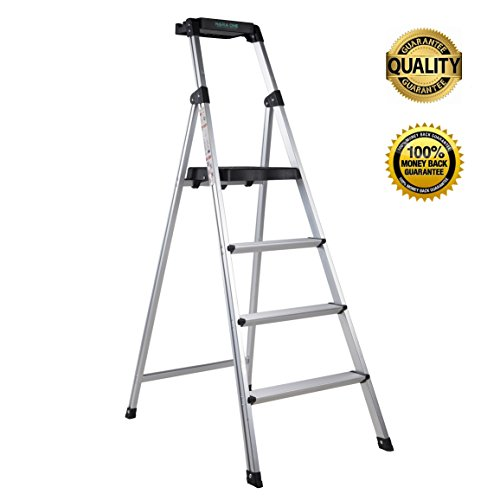 Ladder,Step Ladders Step Stool Fold Up Lightweight Aluminum Stepping Stool For Home Warehouse Office Garden 4 Step Folding For Adults With Platform And Tray 330lbs Capacity Anti-Slip (Sliver)