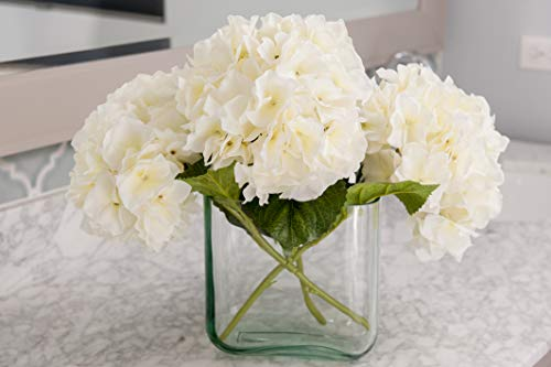 Moby Goods - 3 Premium Extra Large Hydrangeas in White for Decorating, Staging, Weddings, Mother's Day, Bouquets, Centerpieces