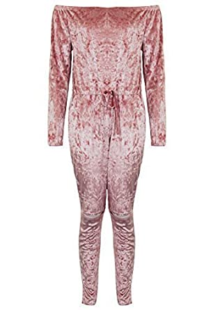 d4d0a815e76 Ladies Crushed Velvet Ripped Knee Bardot All In One Lounge Wear Jumpsuit   Dusty Pink