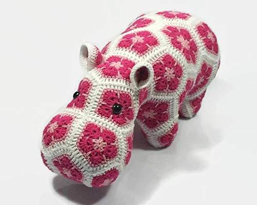 Large Hippo African Flower Crochet Happypotamus (Hippopotamus Sofa)