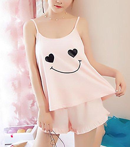 Rose Cute Unique Donna Top Camicie Due Senza Pigiami Smanicato Pezzi Da Shorts Sling Lanceyy Pigiama Elegante Chic Estivo Notte Schienale Hx5Pvqng