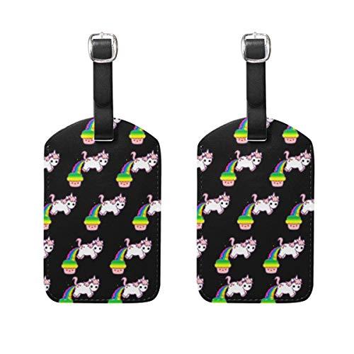 AnleyGardeflagsU Cupcake Rainbow Unicorns Patern Cruise DIY Custom Luggage Tag Luggage Bag Tag Set Of 2