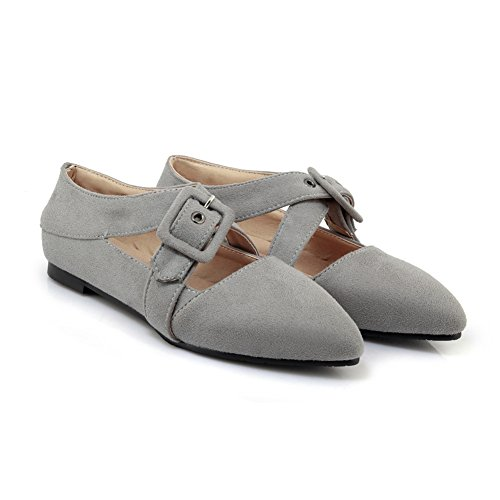 Casual Shoes Slip Women's Walking Buckle Toe Loafers Dress Pointed Belt Grey On Flats Ballet Comfortable R8zdw8q