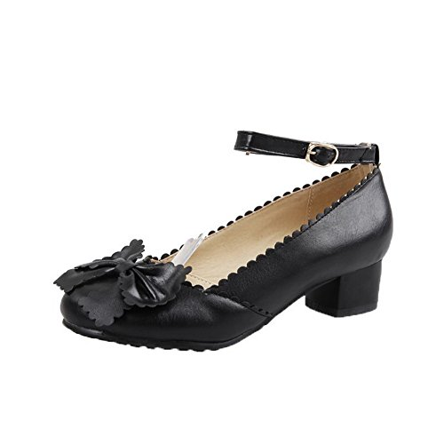 AmoonyFashion Womens Buckle Low-Heels PU Solid Pointed-Toe Pumps-Shoes Black YxwlG9n18