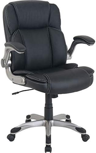 Lorell Soho Flip Armrest Mid-Back Leather Chair