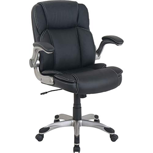 Lorell Soho Flip Armrest Mid-Back Leather Chair, Black