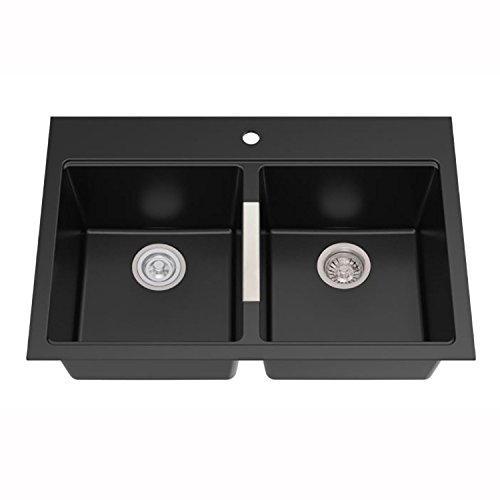 Kraus KGD-433B 33 1/2 inch Dual Mount 50/50 Double Bowl Black Onyx Granite Kitchen Sink by Kraus