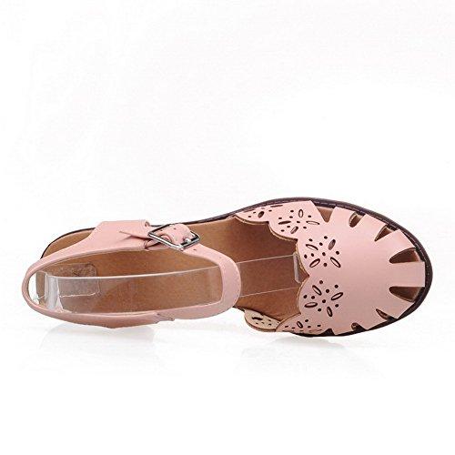 VogueZone009 Puntera Abierta Tacón ancho Sólido Hebilla Sandalias de vestir Rosa