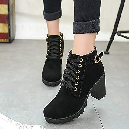 Shukun Botines Plataforma de tacón Alto Zapatos de Mujer Botas Cortas Tacón Alto Plataforma Impermeable Cabeza