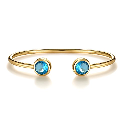 Aquamarine Cuff - March Simulated Aquamarine Birthstone Cuff Bangle Bracelet Crystal Gold Plated Bangle Bar Birth Month Charm Valentine's Day Gifts Birthday Gifts for Women Wife Girlfriend Anniversary Gifts for Her