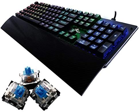 YEYIAN Teclado mecánico Gaming, Flare, 104 Teclas, Switch Azul, RGB retroiluminado, reposamuñecas, con Cable, Negro (YAT1801)