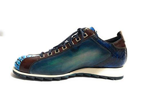 Harris Zapatillas de Piel Para Hombre Pitone asp Nero- Blu/Shade Lino/