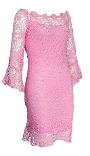 Dress Mini Half Off Mesh Shoulder Bodycon Lace Womens Tang Sleeve Big Pink Sexy x0wXP6Xv