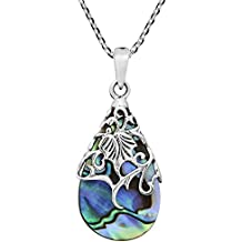 Abalone Shell Vintage Floral Vine Adorned Teardrop .925 Sterling Silver Pendant Necklace