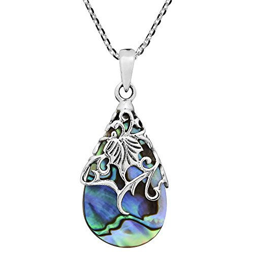 Vintage Floral Vine Adorned Teardrop Abalone Shell .925 Sterling Silver Pendant Necklace