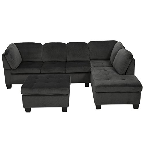 Modern Contemporary 3 Piece Fabric Upholstered Chaise Lounge Ottoman Sectional Sofa with Espresso Wood Legs - Includes Modhaus Living Pen (Charcoal) (Restoration Sectional Hardware Sofas)