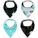 Alva Stylish Baby Bandana Bibs for Boys and Girls 4 Pack of Super Absorbent Baby Gift Sets SK09
