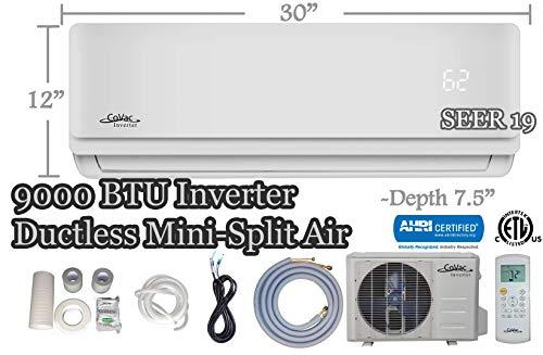 CoVac 9,000 BTU Ductless Mini-Split Air Conditioner - Inverter SEER 19 - Cooling & Heating - Dehumidifier - 120v/60hz - PreCharged Condenser - Ultra Quiet - AHRI - 16 Feet Line Set + Accessories