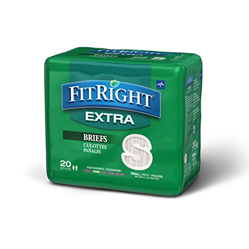 (FitRight Extra Adult Briefs with Tabs, Moderate Absorbency, Small, 20