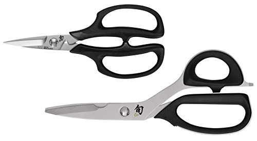 Shun Kitchen - Shun DMS7000 2-Piece Kitchen Shear Set 2, Black/Silver