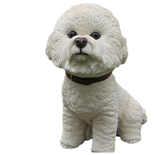 Large Size Bichon Frise Resin Dog Sculpture Car Ornament