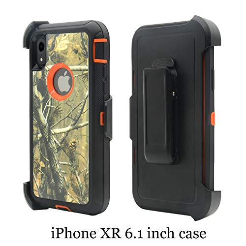 Chanroy - iPhone XR(6.1 inch), Heavy Duty Shockproof Dirtproof Defender Case Cover + 1 Belt Clip Holster(Orange - Cell Cover Camo Phone
