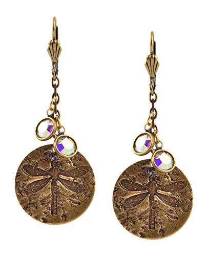 - Anne Koplik Dragonfly Disk Earrings, Antique Gold Plated ER4667CAB