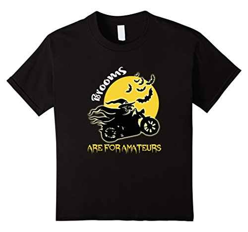 [Kids Brooms Are For Amateurs Biker Halloween Costume T-shirt 12 Black] (Biker Kid Costume)