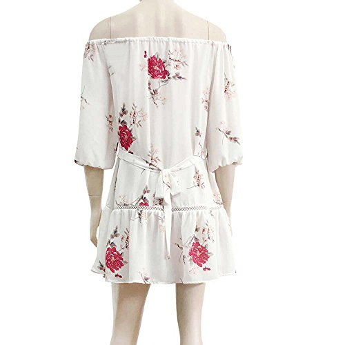 Summer White NREALY Shoulder Short Sundress Falda Floral Womens Beach Print Party Mini Off Dress wHxRTqx