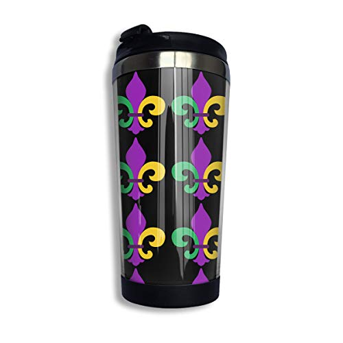 Stainless Steel Coffee Mugs Mardi Gras Fleur De Lis Travel Coffee Thermal Mug 10 Oz (400ml) Insulated Cup Perfect for Travel, Camping, Hiking, The Beach and Sports