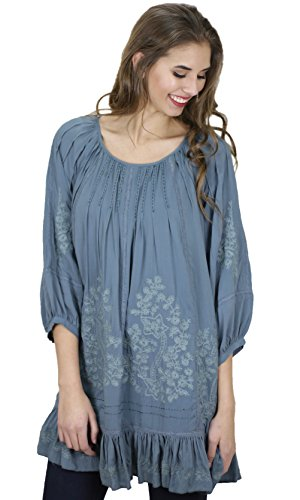 Chana Embroidered Tunic Dress With Ruffles In Teal (Small...