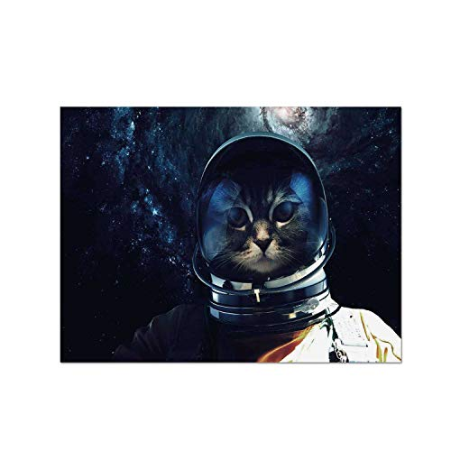 C COABALLA Space Cat Heat Resistant Table Mat,Astronaut Kitty Extragalactic Mission in Orbit Terestial Image for Dining,15.7