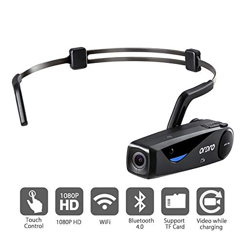 Wearable Video Camera, ORDRO EP5 Head Action Mini DV Camcorder Full HD 1080P 30FPS Video Camera WiFi Camcorder for Web Celebrity Recording/Sharing with 90° Wide Angle Lens