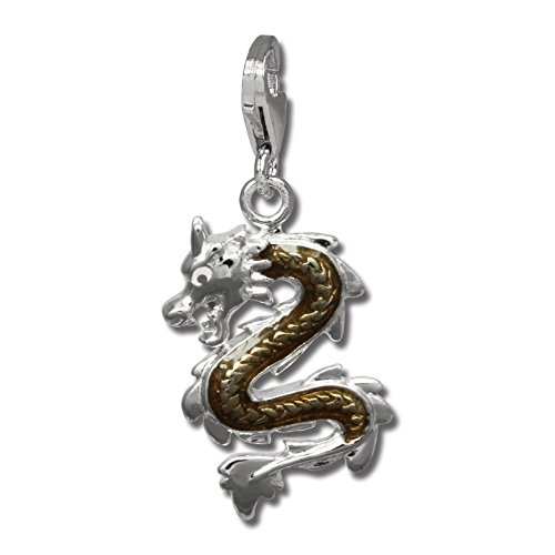 - SilberDream Charm dragon bronze enameled 925 Sterling Silver Pendant Lobster Clasp FC834N