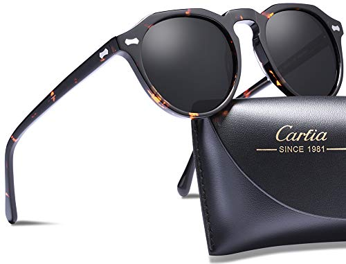 Carfia Polarized Sunglasses for Women Men丨Vintage Round Sunglasses with Case丨100% UV400 Protection (A: Tortoise Grey Lens, New Round Shape ()