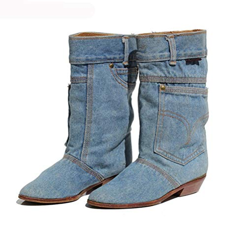 T-JULY Fashion New Women Low Heel Casual Boots Ladies Mid Calf Jeans Boots Leather Pointed Toe Cowboy Boots Plus Size Blue ()