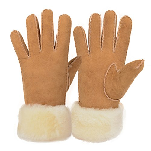 Furoom women's sheepskin glove wool cuff Sheepskin Wool Gloves