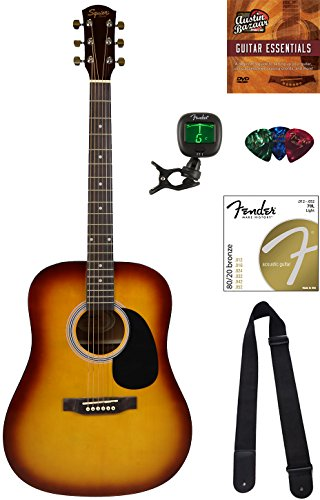 Squier by Fender SA-150 Dreadnought Acoustic Guitar – Sunburst Bundle with Tuner, Strap, Strings, Picks, Austin Bazaar Instructional DVD, and Polishing Cloth