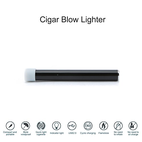 Beiens Rechargeable Flameless USB Lighter Windproof Cigar Accessory Electronic Induction Innovative Airflow Fire Starters Eco Friendly & Energy Saving No Gas and Fluid Required (BLACK) - Energy Fluid