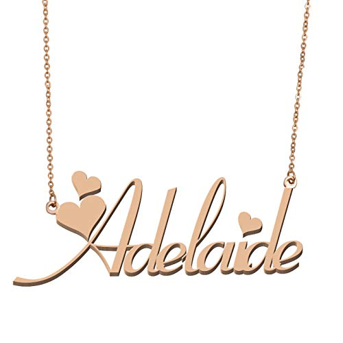 Aoloshow Customized Custom Name Necklace Personalized - Custom Made Adelaide Necklace Initial Monogrammed Gift for Womens Girls