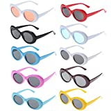 Xgood 10 Colors Clout Oval Goggles Retro Thick Frame Round Lens Sunglasses Goggles Oval Round Sunglasses for Women,Men,Teenagers