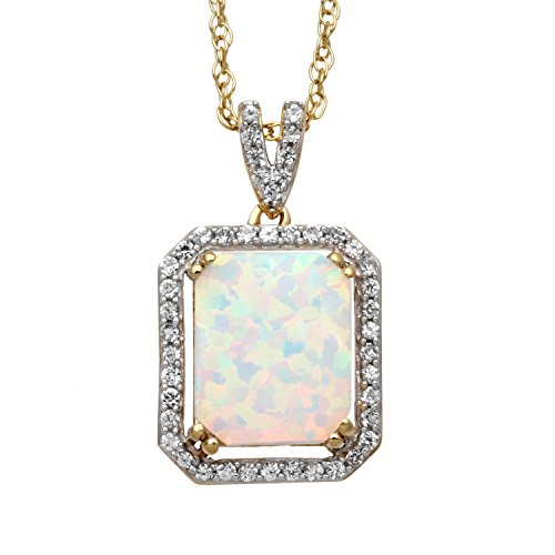 Jewelili 14kt Yellow Gold Plated Sterling Silver 10x8mm Octagon Created Opal and Round Created White Sapphire Halo Pendant Necklace, 18 Rolo Chain