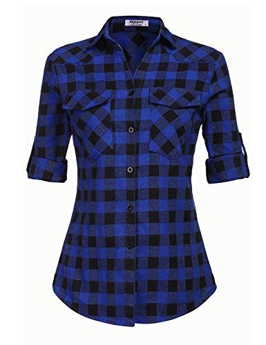 Zeagoo Women's Long Sleeve Collared Button Down Plaid Flannel Shirt Deep Blue L ()
