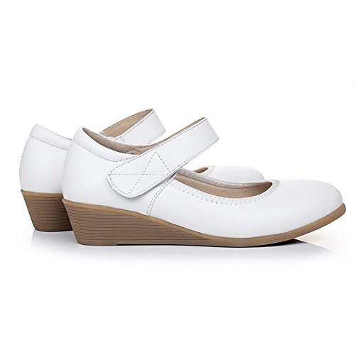 Kalends, piel auténtica Cobbies Plus tamaño calzado de trabajo zapatos de Casual blanco