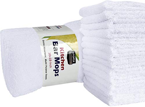 Utopia Towels Kitchen Bar Mop Cleaning Towels - (16 by 19 inches) Pure Cotton White Kitchen Towels, Restaurant Cleaning Towels, Shop Towels and Rags (12 pack, White)