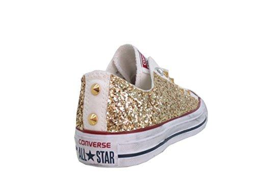 Converse All Star Ox Paillettes Or Blanc Blanc Optique Blanc Vintage (produit Fait À La Main)