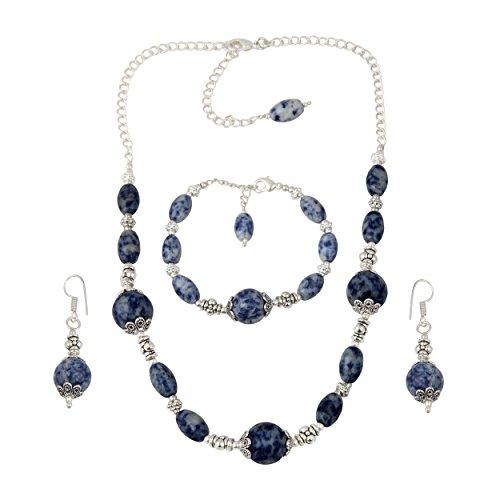 Sodalite Beaded Necklace (Sodalite Beaded Necklace Earrings Dangling Bracelet Trendy Fashion Jewelry Set for Women)