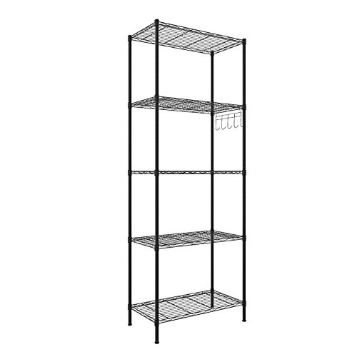 Hufcor 5 Tier Wire Shelving Commercial Storage Rack for Organization with Adjustable Leveling Feet, Black, 21